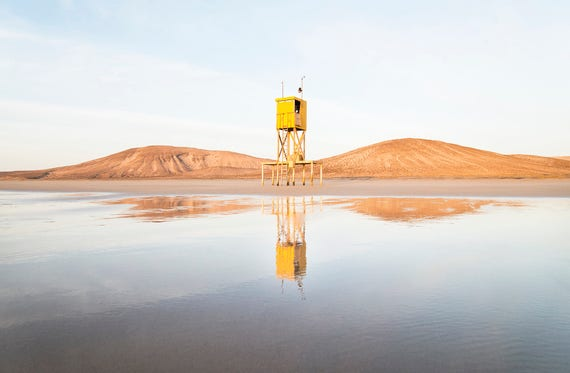 THE YELLOW TOWER. Beach Print, Fuerteventura, Coastal Picture, Travel Photography, Limited Edition Print
