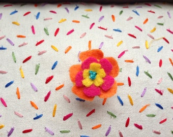 Orange and yellow felt flower ring
