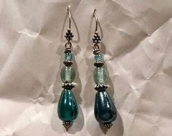 Blue Green Glass Dangle Earrings