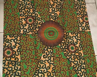 Orange and Green African Print Fabric