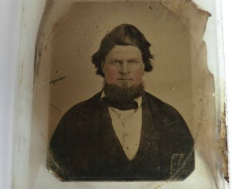 Ambrotype Photo Victorian Man with Beard Wavy Hair Glass Plate