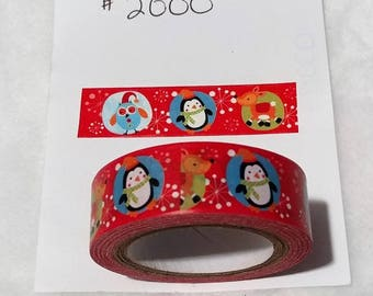Red Christmas Character Washi Tape Roll