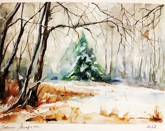 "Original watercolor painting-free shipping ""first snow in forest""(watercolor trees snow nature woodland paysage landscape winter)"