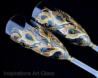 Hand Painted peacock glasses Peacock wedding gift glasses Champagne glasses Gold peacock feather Personalized peacock flutes Wedding glasses