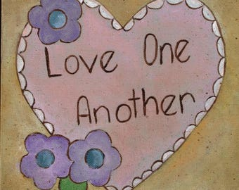 Love: Original Folk Art canvas Painting