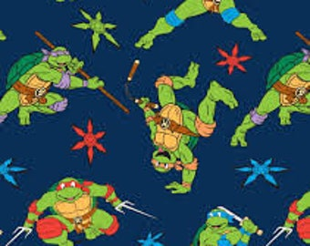 """TMNT Flannel Cowabunga Toss by Spirings Creative fabric, 43"""" wide, 100% cotton, by the half yard"""