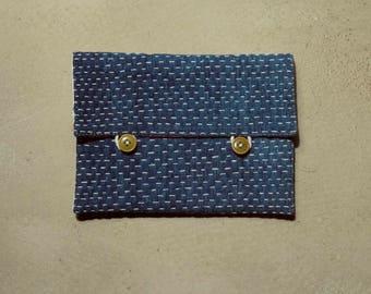 MARI pocket case, indigo sashiko stitched pouch
