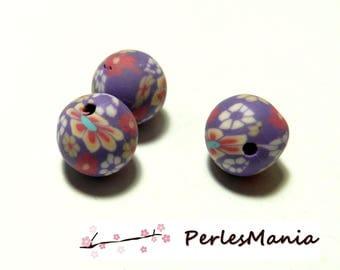 10 Pearl polymer clay flower refY34 tones purple 10mm round