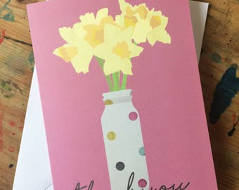 Daffodils- Pink Thank you Card