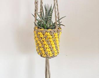 Succulent plant holder, small hanging planter, indoor plant hanger, wall mounted plant hanger, yellow decor, succulent plants, cactus plants