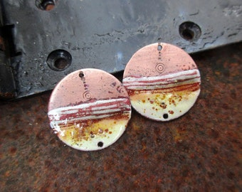 RESERVED RESERVED - ADE - rustic, primitive-charms enameled copper - copper bare white beige orange cream-Enameled copper charms