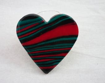 green and red  heart  ring polymer clay