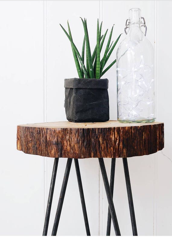 Wood slice table with hairpin legs Side table coffee table