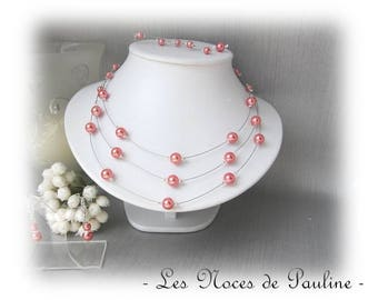 Wedding Pink salmon Elisa 3 row collection set ' Tradition' 3 pieces