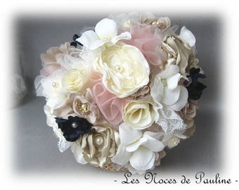 Ivory bridal bouquet, pink & Navy Lord