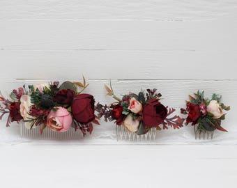 Burgundy pink beige eucalyptus floral comb Flower accessories Bridal Bridesmaid headpiece Burgundy wedding Floral accessory Hair comb
