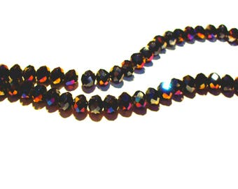 Set of 6 Crystal black glass beads with multicolor faceted 8 mm