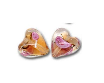 Set of 2 Orange and Pink Hearts 12 mm x 12 mm lampwork glass beads