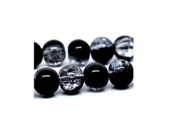 20 black and clear cracked glass beads 10 mm