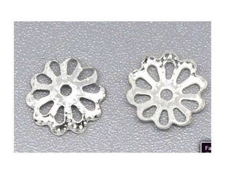Set of 100 caps filigree openwork 8 mm silver plated