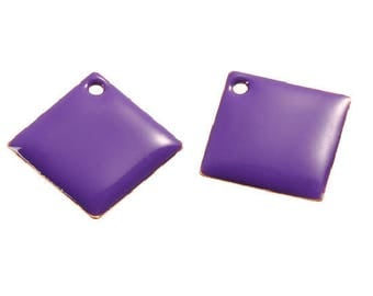 Set of 2 Purple Argyle copper enameled 24 mm x 24 mm sequins