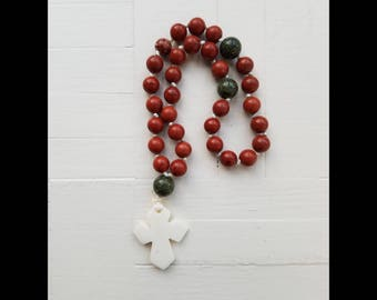 Orthodox Rosary Russian Greek Chotki Komboskini Christian Prayer Beads- Red Jasper & Green Serpentine Stone Beads Bone Cross