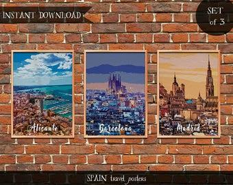 Spain Travel Posters, Set of 3 Instant download Digital prints