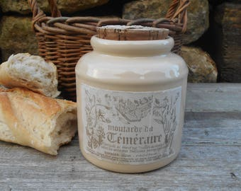 Vintage Stoneware Mustard Crock with Cork Stopper. French Antique Cream 'Moutarde de Téméraire' Dijon Mustard Jar.