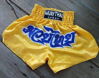 New Custom Muay Thai Boxing Shorts Martial Arts - Yellow