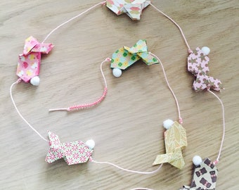 Origami string - 7 colored in shades of pink bunnies