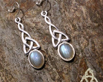 Celtic knot Sterling Silver Blue Sheen Labradorite Eilean elven earrings medieval Celtic esoteric