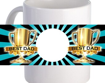 "Personalized ""Best Dad"" 11 oz Coffee Mug With Custom Printed Image"