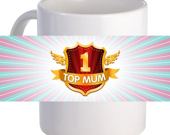 Top Mum Beautiful Coffee Mug With Custom Printed Name Message Image