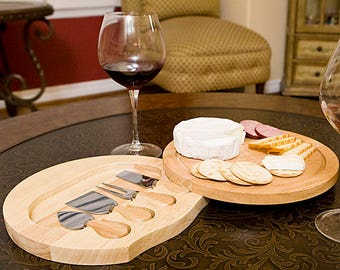 Round Cheese Board And Knife-Beautiful & Perfect Gift For Cheese Lover