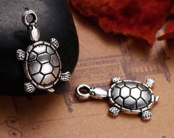 10 charms turtle in silvered Metal-1.9 cm / Animal