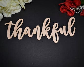THANKFUL wood sign. Calligraphy THANKFUL Wall Sign. Laser Cut THANKFUL wood cut out sign. Rustic Wood Thankful Sign. Wood Thankful word Sign