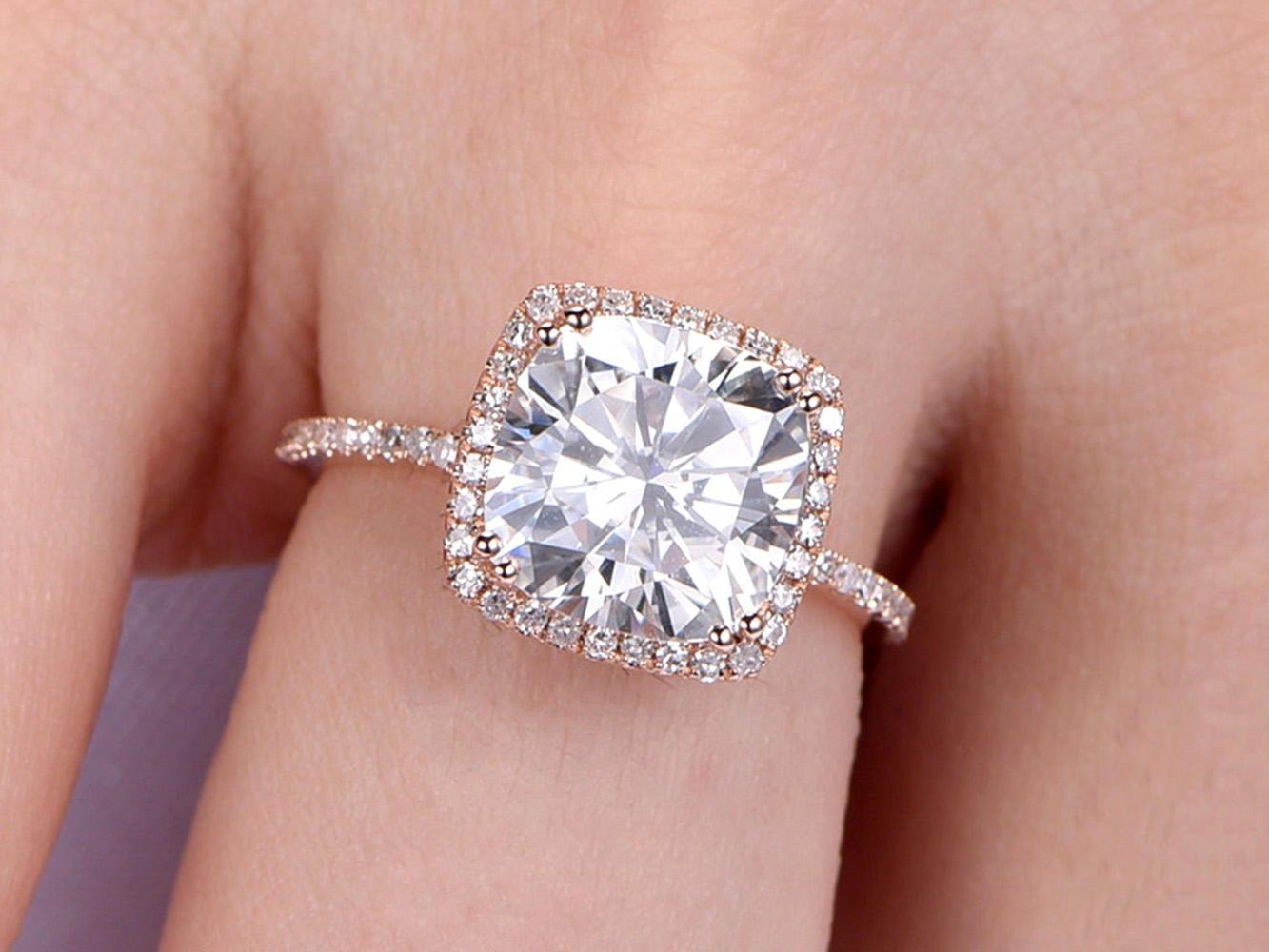Moissanite Engagement Ring 9mm Cushion Cut Moissanite Wedding Ring ...