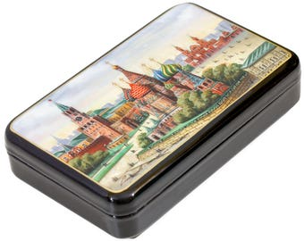 "Russian Fedoskino Lacquer Box - MEDIUM SIZE - ""Summer Moscow."" - Hand Painted in Russia - Collectible Art Quality"