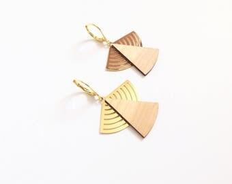 """Earrings """"Kaïko"""" pear tree wood and gold meral"""
