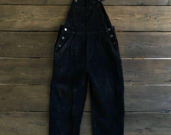 Vintage 90s LEI Black Velvet Overalls