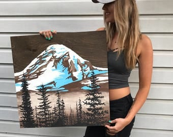 Mt Rainier Painting - Wood Canvas - Adventure Art - Mountains - Pacific Northwest Art - PNW - Mountain Painting