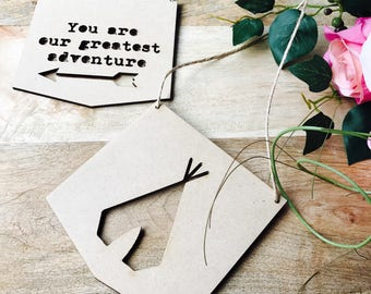 """Teepee Hanging Plaque Set """"You are our greatest adventure"""" Nursery Decor Baby Shower Gift Boho Wander Lust Teepee"""