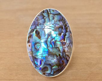 Large Abalone Ring, Mermaid Ring, Inlay Abalone Ring, Sterling Silver Ring, Statement Ring, Large Oval Ring, Adjustable Ring, Oval Ring