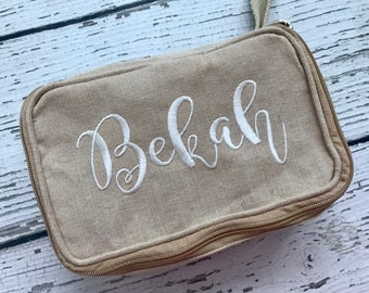 Personalized Canvas Cosmetic Bag // Canvas Zippered Make-up Bag with Name // Personalized Travel Bag