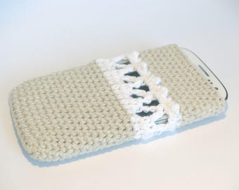 Case for smartphone Iphone single crochet with view