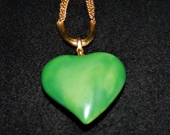 Vintage Green Puffy Heart Pendant on Gold Tone Chain from the 1960's