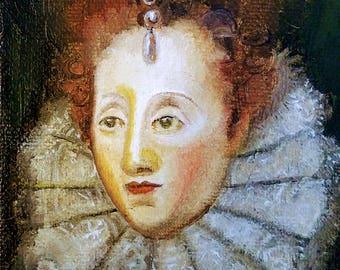 Miniature portrait painting of Queen Elizabeth I