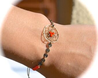 Bronze and orange dream catcher bracelet