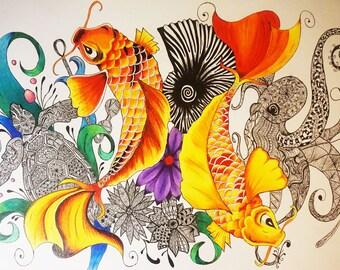 Hand drawn colourables