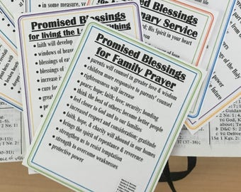 PROMISED BLESSINGS lists: given for 15 specific commandments INSTANT Download Printable